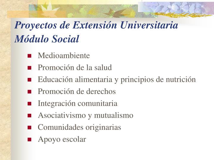 Proyectos de Extensión Universitaria