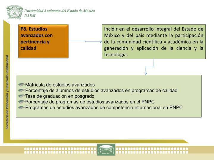 P8. Estudios avanzados con pertinencia y calidad