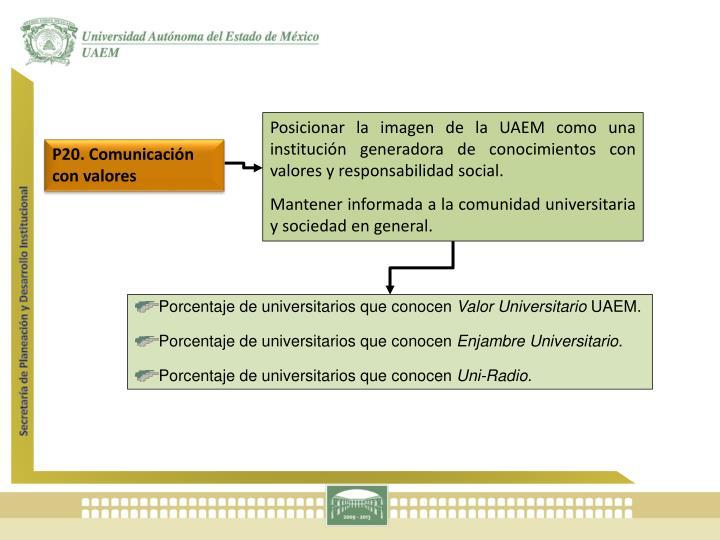 Posicionar la imagen de la UAEM como una institución generadora de conocimientos con valores y responsabilidad social.