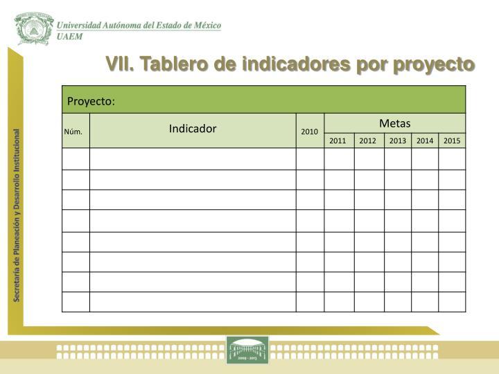 VII. Tablero de indicadores por proyecto