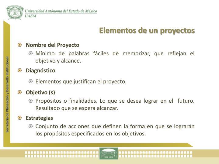 Elementos de un proyectos