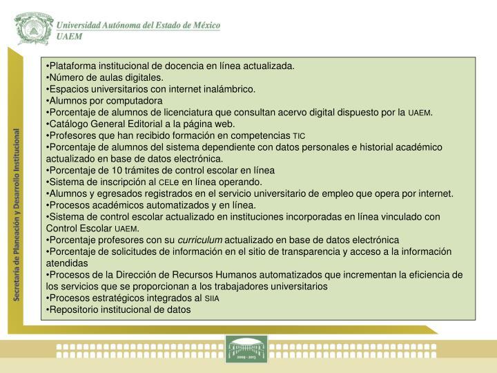 Plataforma institucional de docencia en línea actualizada.