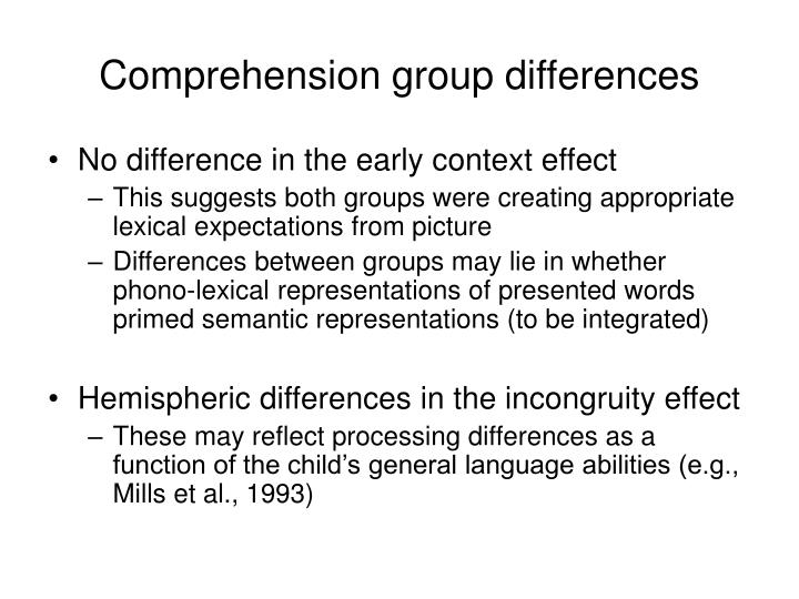 Comprehension group differences