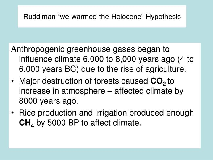 "Ruddiman ""we-warmed-the-Holocene"" Hypothesis"