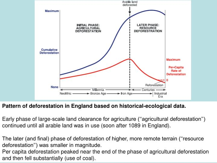 Pattern of deforestation in England based on historical-ecological data.