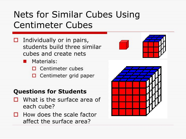 Nets for Similar Cubes Using Centimeter Cubes
