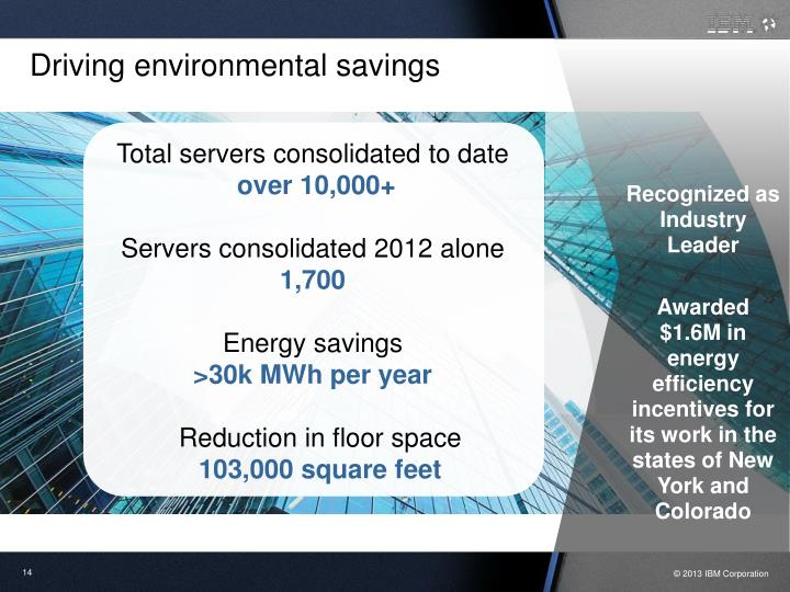 Driving environmental savings