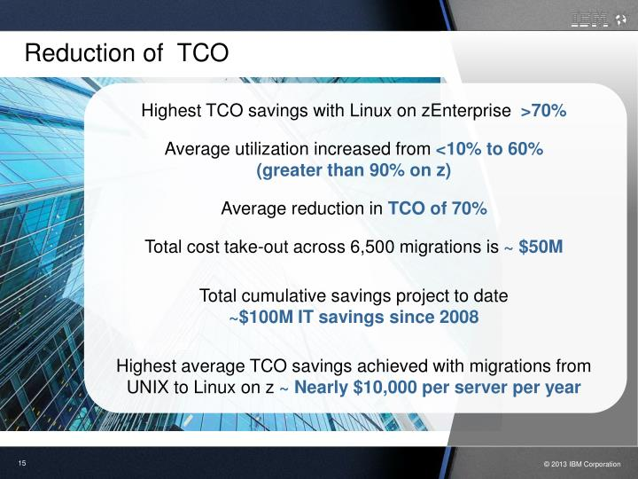 Reduction of  TCO