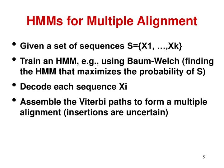 HMMs for Multiple Alignment