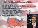 10 presidential election of 2004