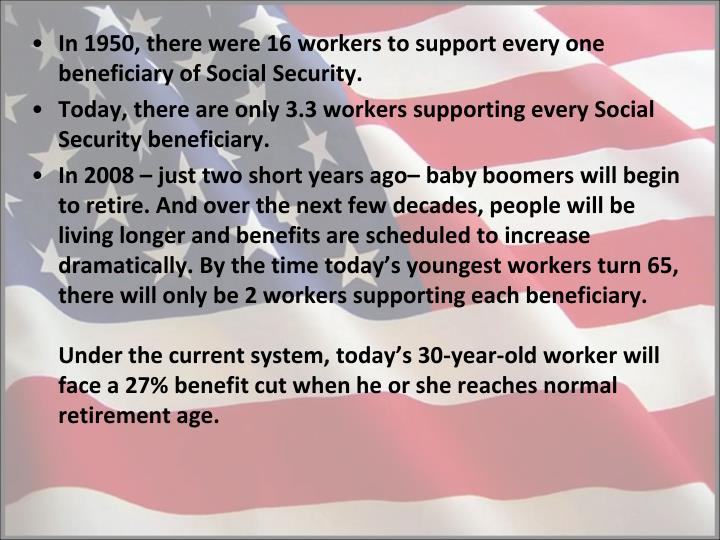 In 1950, there were 16 workers to support every one beneficiary of Social Security.