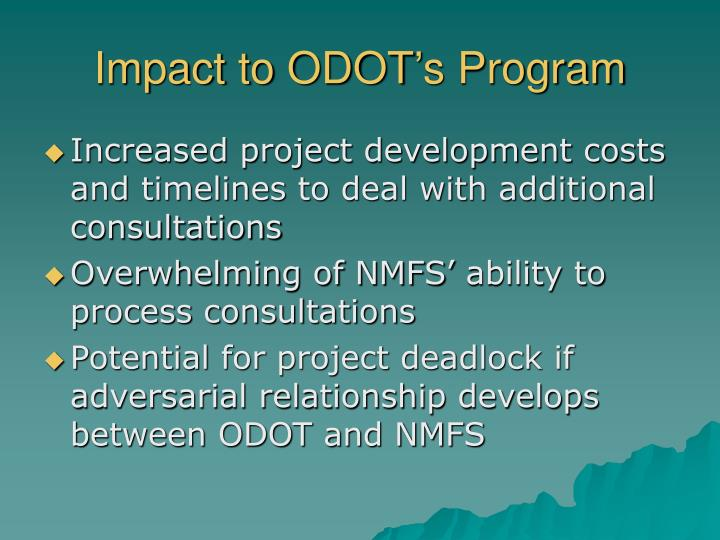 Impact to ODOT's Program