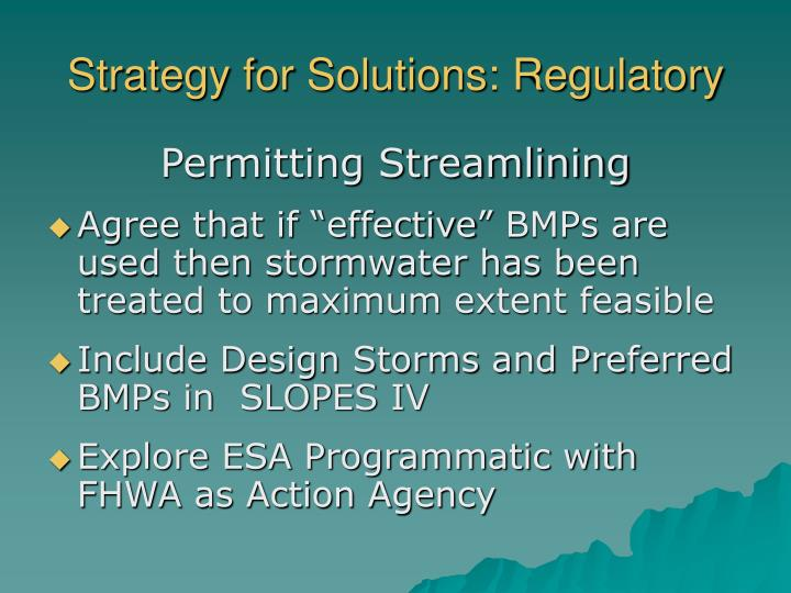 Strategy for Solutions: Regulatory