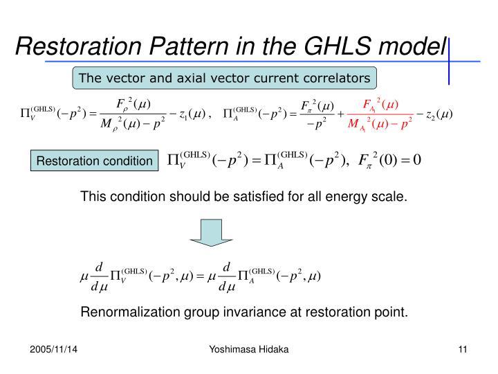 Restoration Pattern in the GHLS model