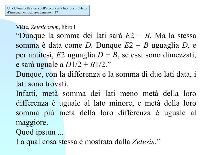 Una lettura della storia dell'algebra alla luce dei problemi d'insegnamento/apprendimento 4.17