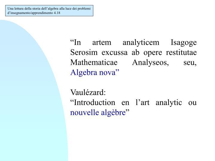 Una lettura della storia dell'algebra alla luce dei problemi d'insegnamento/apprendimento 4.18