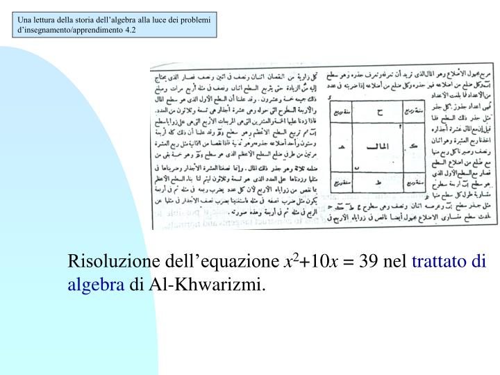 Una lettura della storia dell'algebra alla luce dei problemi d'insegnamento/apprendimento 4.2