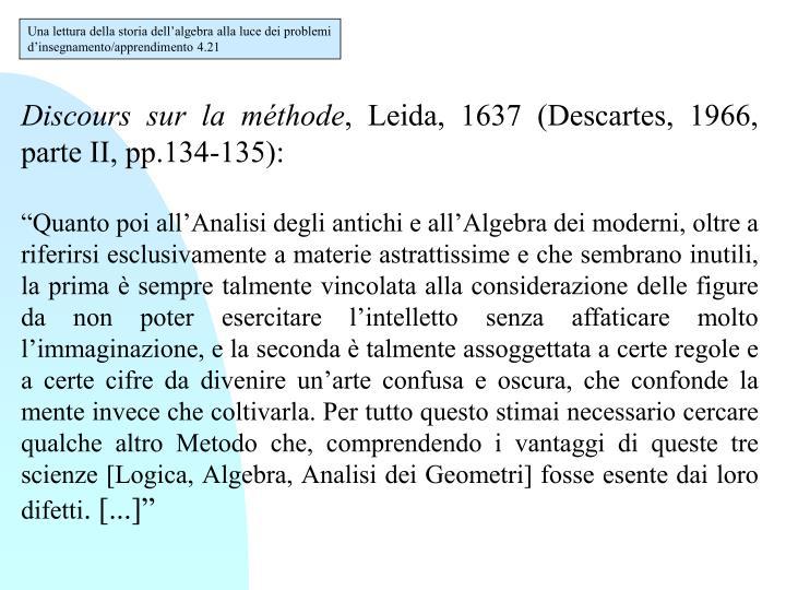 Una lettura della storia dell'algebra alla luce dei problemi d'insegnamento/apprendimento 4.21