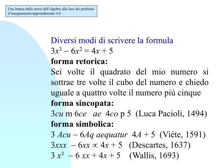 Una lettura della storia dell'algebra alla luce dei problemi d'insegnamento/apprendimento 4.8