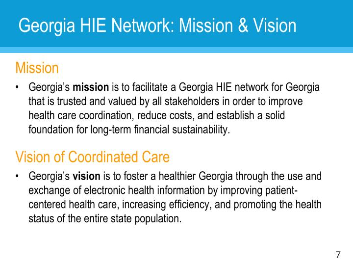 Georgia HIE Network: Mission & Vision