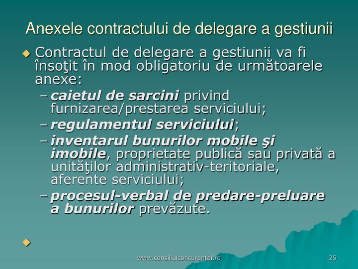 Anexele contractului de delegare a gestiunii