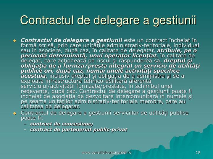 Contractul de delegare a gestiunii