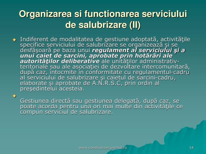 Organizarea si functionarea serviciului de salubrizare (II)