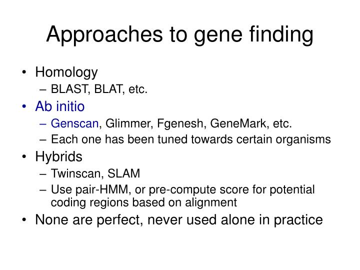 Approaches to gene finding