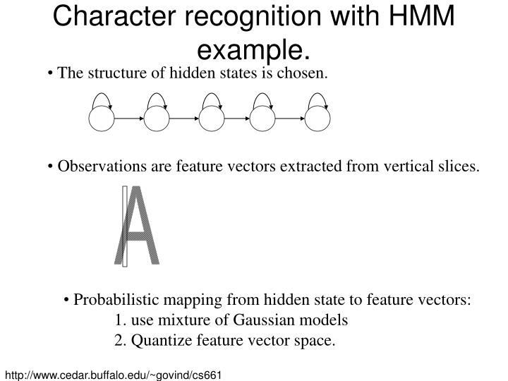 Character recognition with HMM example.