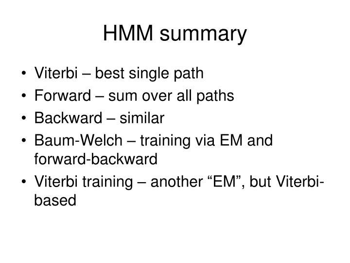 HMM summary