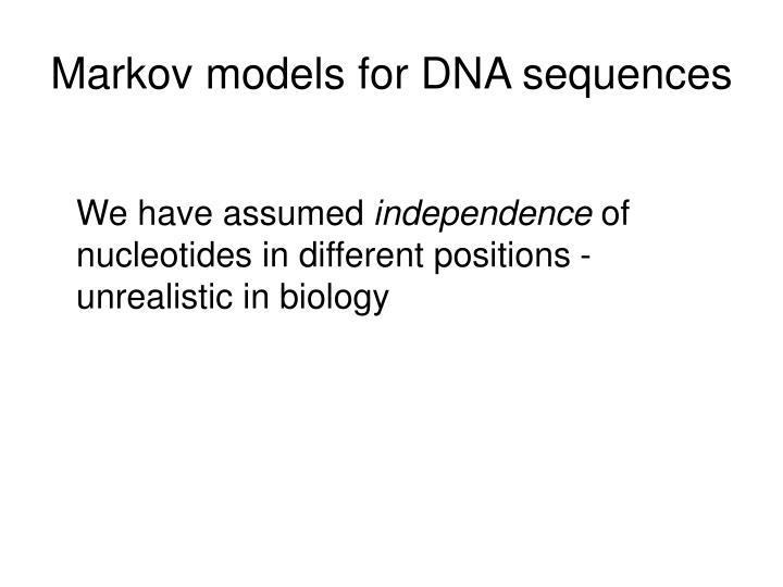 Markov models for DNA sequences