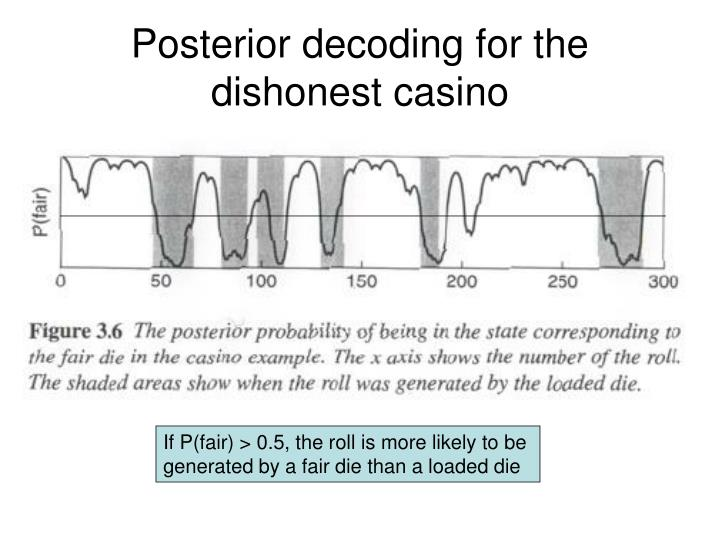 Posterior decoding for the dishonest casino