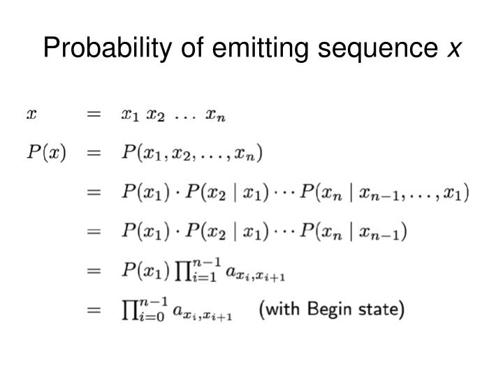 Probability of emitting sequence