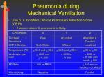pneumonia during mechanical ventilation