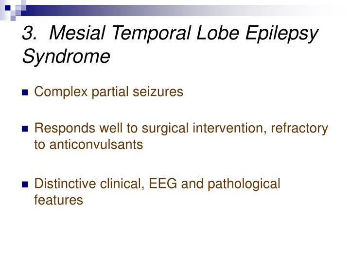 3.  Mesial Temporal Lobe Epilepsy Syndrome