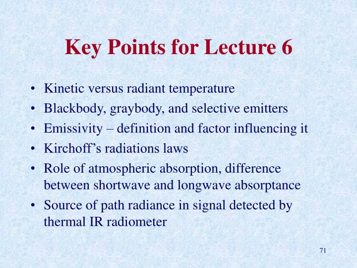 Key Points for Lecture 6