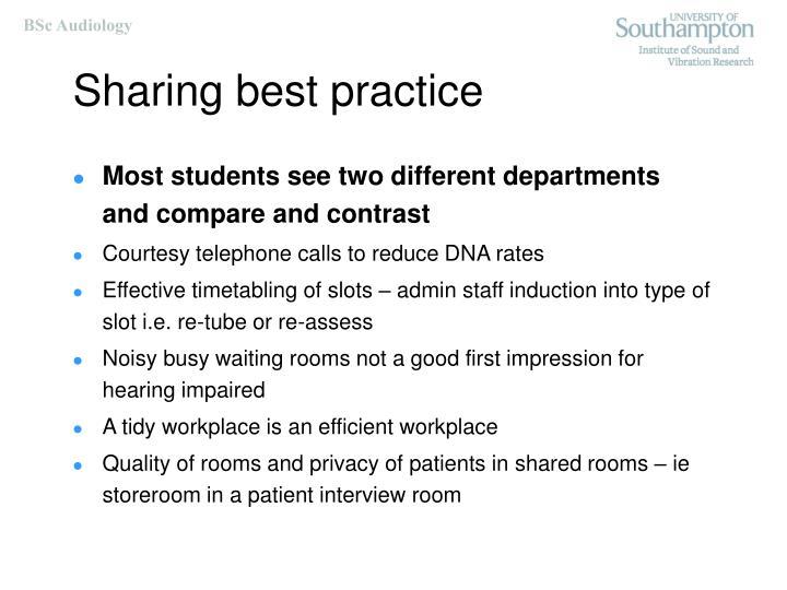 Sharing best practice