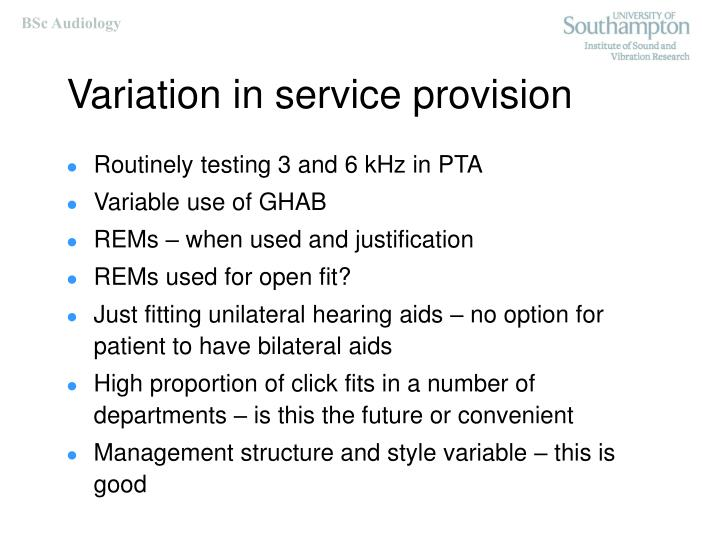 Variation in service provision