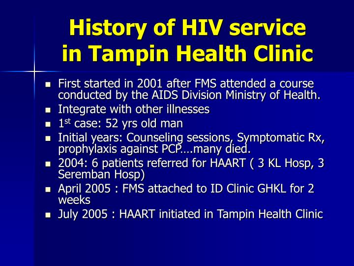 History of HIV service