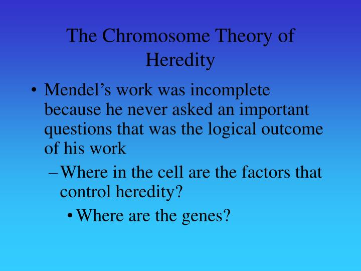 The chromosome theory of heredity
