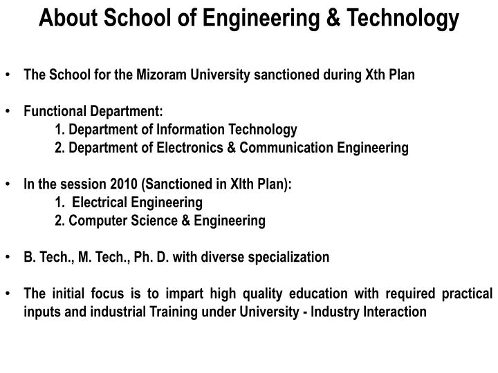 About School of Engineering & Technology