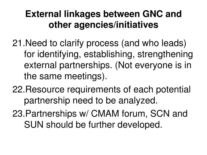 External linkages between GNC and other agencies/initiatives