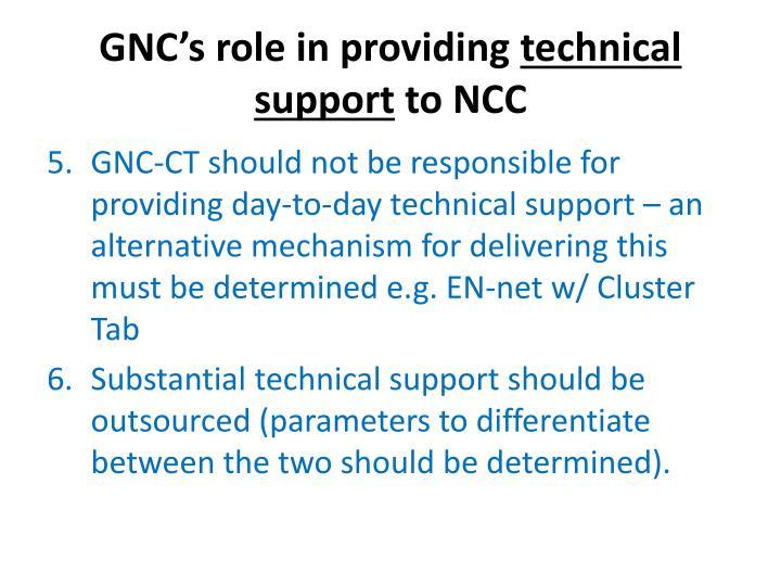 GNC's role in providing