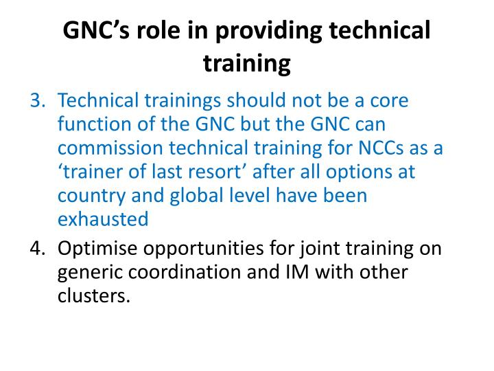 Gnc s role in providing technical training