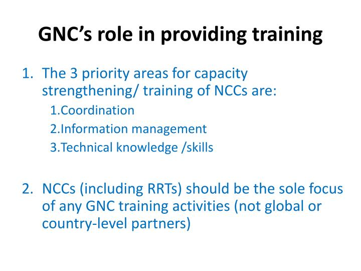Gnc s role in providing training