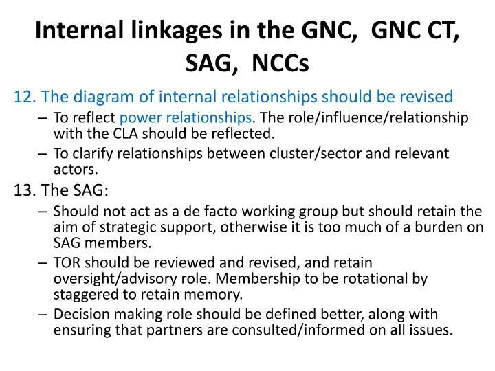 Internal linkages in the GNC,  GNC CT, SAG,  NCCs
