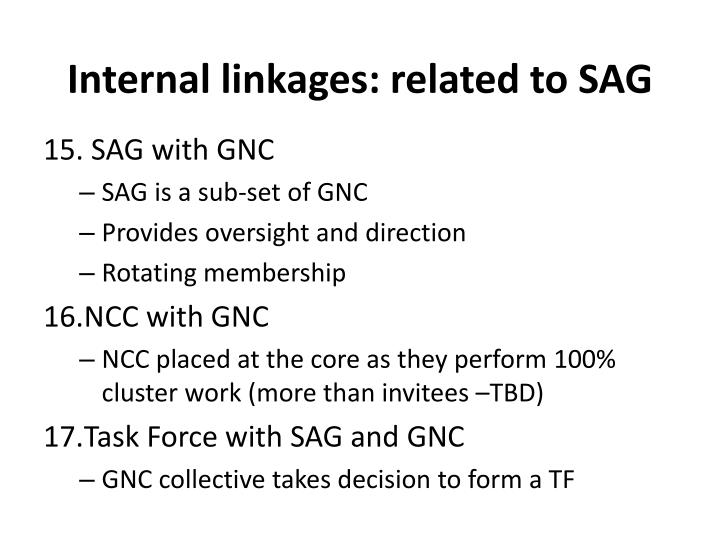 Internal linkages: related to SAG