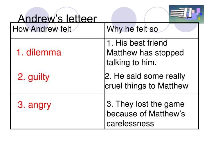 Andrew's letteer