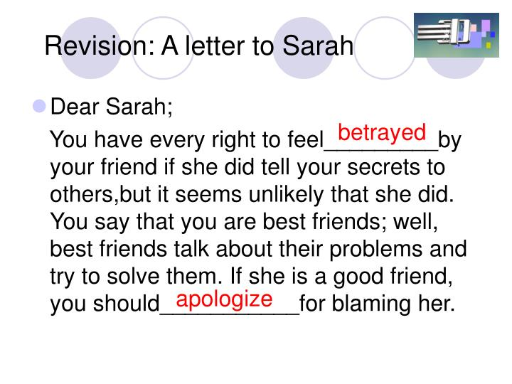Revision: A letter to Sarah