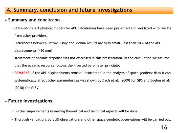 4. Summary, conclusion and future investigations